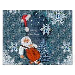 Funny Santa Claus With Snowman Rectangular Jigsaw Puzzl by FantasyWorld7