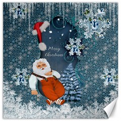 Funny Santa Claus With Snowman Canvas 16  X 16   by FantasyWorld7