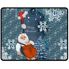 Funny Santa Claus With Snowman Fleece Blanket (medium)  by FantasyWorld7
