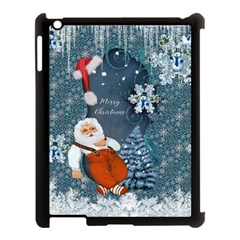 Funny Santa Claus With Snowman Apple Ipad 3/4 Case (black) by FantasyWorld7
