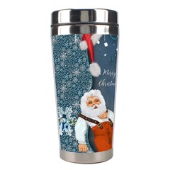 Funny Santa Claus With Snowman Stainless Steel Travel Tumblers by FantasyWorld7