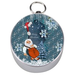 Funny Santa Claus With Snowman Silver Compasses by FantasyWorld7