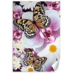 Butterflies With White And Purple Flowers  Canvas 24  X 36  by allthingseveryday