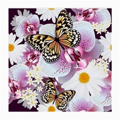 Butterflies With White And Purple Flowers  Medium Glasses Cloth (2 Side)