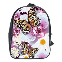 Butterflies With White And Purple Flowers  School Bag (large) by allthingseveryday