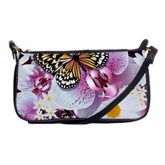 Butterflies With White And Purple Flowers  Shoulder Clutch Bags by allthingseveryday