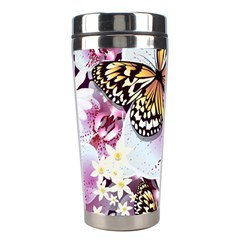 Butterflies With White And Purple Flowers  Stainless Steel Travel Tumblers by allthingseveryday