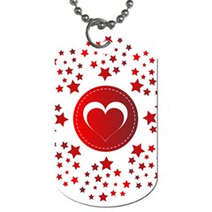 Monogram Heart Pattern Love Red Dog Tag (one Side)