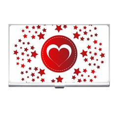 Monogram Heart Pattern Love Red Business Card Holders