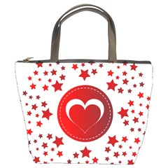 Monogram Heart Pattern Love Red Bucket Bags