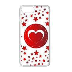 Monogram Heart Pattern Love Red Apple Iphone 8 Plus Seamless Case (white) by Celenk