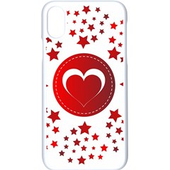 Monogram Heart Pattern Love Red Apple Iphone X Seamless Case (white) by Celenk