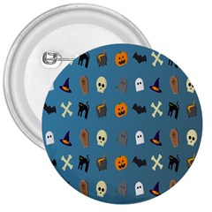 Halloween Cats Pumpkin Pattern Bat 3  Buttons by Celenk