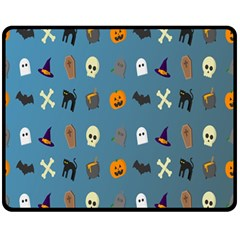 Halloween Cats Pumpkin Pattern Bat Fleece Blanket (medium)  by Celenk