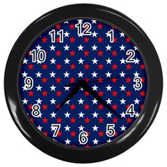 Patriotic Red White Blue Stars Blue Background Wall Clocks (black)