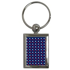 Patriotic Red White Blue Stars Blue Background Key Chains (rectangle)  by Celenk