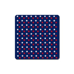 Patriotic Red White Blue Stars Blue Background Square Magnet