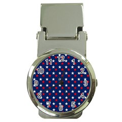 Patriotic Red White Blue Stars Blue Background Money Clip Watches by Celenk