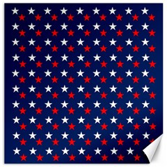 Patriotic Red White Blue Stars Blue Background Canvas 20  X 20   by Celenk