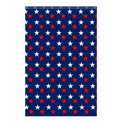 Patriotic Red White Blue Stars Blue Background Shower Curtain 48  X 72  (small)  by Celenk