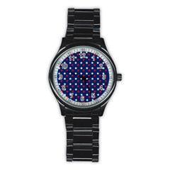 Patriotic Red White Blue Stars Blue Background Stainless Steel Round Watch by Celenk
