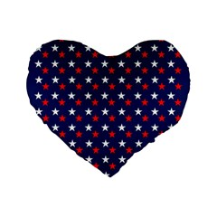 Patriotic Red White Blue Stars Blue Background Standard 16  Premium Flano Heart Shape Cushions by Celenk