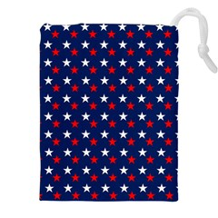 Patriotic Red White Blue Stars Blue Background Drawstring Pouches (xxl)