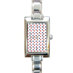 Patriotic Red White Blue Stars Usa Rectangle Italian Charm Watch by Celenk