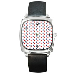Patriotic Red White Blue Stars Usa Square Metal Watch by Celenk