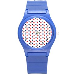 Patriotic Red White Blue Stars Usa Round Plastic Sport Watch (s) by Celenk