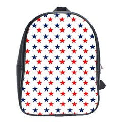 Patriotic Red White Blue Stars Usa School Bag (xl) by Celenk