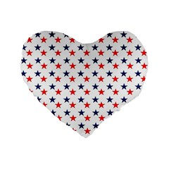 Patriotic Red White Blue Stars Usa Standard 16  Premium Flano Heart Shape Cushions by Celenk