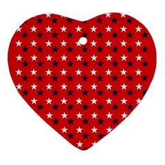 Patriotic Red White Blue Usa Ornament (heart)