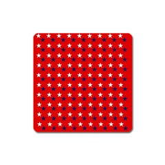 Patriotic Red White Blue Usa Square Magnet by Celenk