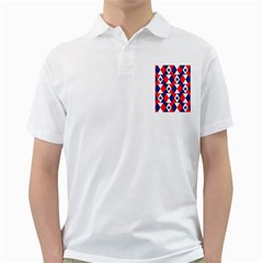 Patriotic Red White Blue 3d Stars Golf Shirts