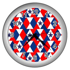 Patriotic Red White Blue 3d Stars Wall Clocks (silver)  by Celenk