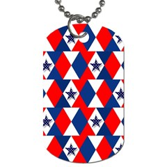 Patriotic Red White Blue 3d Stars Dog Tag (two Sides) by Celenk