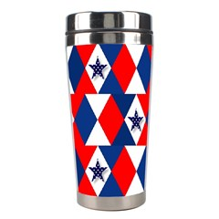 Patriotic Red White Blue 3d Stars Stainless Steel Travel Tumblers by Celenk