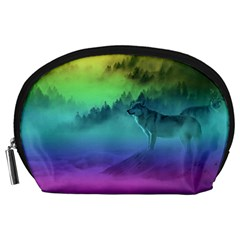 Yellowstone Wolfs Sunset Accessory Pouches (large)  by PodArtist