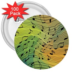 Music Notes 3  Buttons (100 Pack)  by linceazul