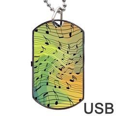Music Notes Dog Tag Usb Flash (one Side) by linceazul