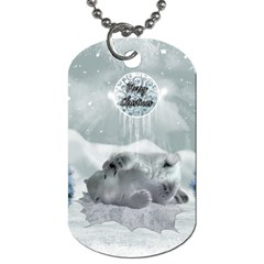 Cute Polar Bear Baby, Merry Christmas Dog Tag (two Sides) by FantasyWorld7