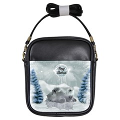 Cute Polar Bear Baby, Merry Christmas Girls Sling Bags by FantasyWorld7