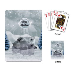 Cute Polar Bear Baby, Merry Christmas Playing Card by FantasyWorld7