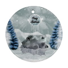 Cute Polar Bear Baby, Merry Christmas Round Ornament (two Sides) by FantasyWorld7
