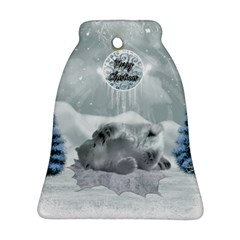 Cute Polar Bear Baby, Merry Christmas Ornament (bell) by FantasyWorld7