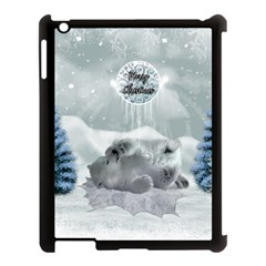 Cute Polar Bear Baby, Merry Christmas Apple Ipad 3/4 Case (black) by FantasyWorld7