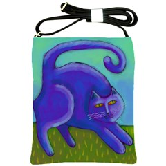 Purple Cat Shoulder Sling Handbag Shoulder Sling Bags by paintedpurses