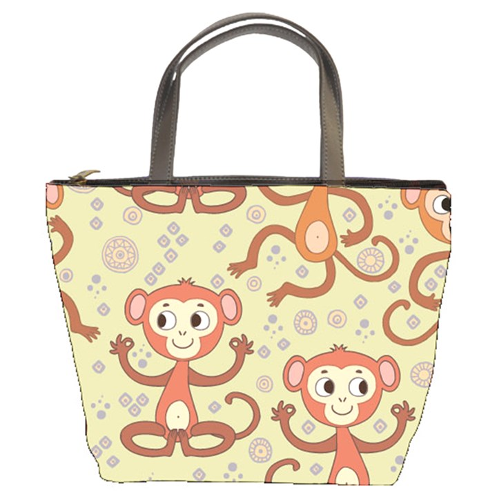 Cute Cartoon Monkeys Pattern Bucket Bags