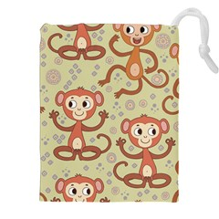 Cute Cartoon Monkeys Pattern Drawstring Pouches (xxl) by allthingseveryday